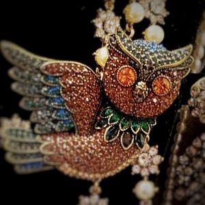 Heidi daus owl brooch pin